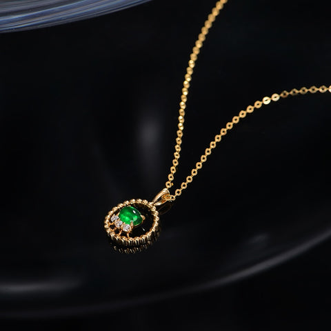 Natural Cabochon Cut Emerald 14kt Yellow Gold Pendant