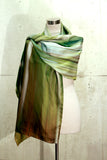 She Leaves. Long rectangle silk/cotton scarf, 200cm x 70cm