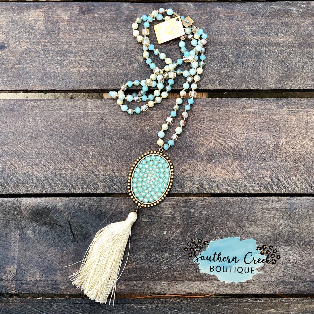 38' Aqua Terra Beads with Pacific Opal & Creme Silk Tassel
