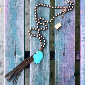 Bronze Pearl Beads with Brown Tassel & Turquoise Slab Necklace