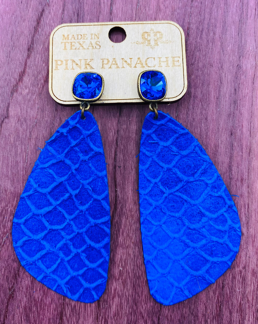 Blue Leather Triangle with Majestic Blue Cushion Earring Set