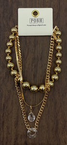 Posh Gold Multi-Chain Necklace with Teardrop and Hollow Circle Crystal
