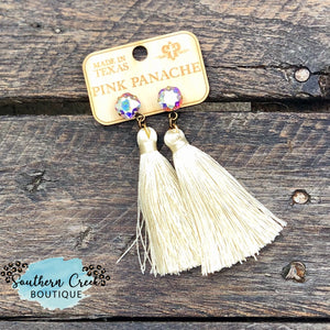Cream Silk Tassel with AB Crystal Post