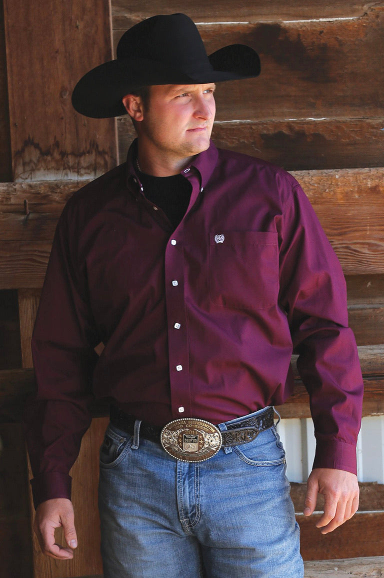 Men's Cinch Burgundy  Solid Long Sleeve