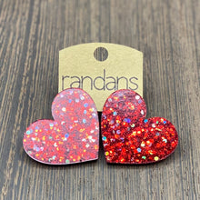 Load image into Gallery viewer, Randans Glitter Heart Post Earrings