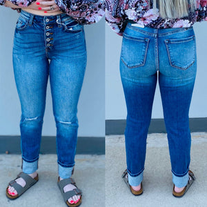 Kan Can Gemma High Rise Skinny Straight Jeans