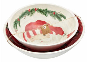 Santa Nested Wood Enamel Bowls