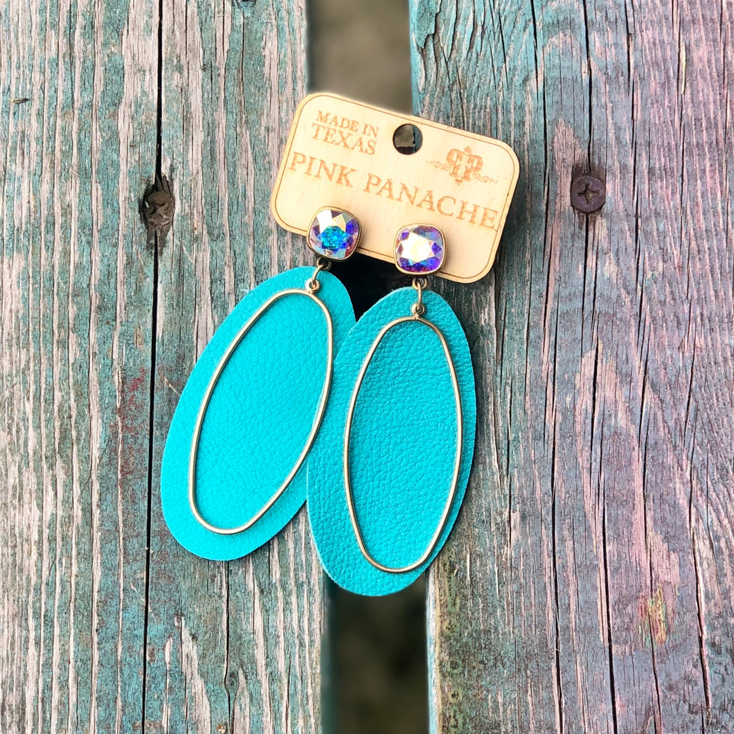 Turquoise Leather Gold Oval Earrings with AB Post