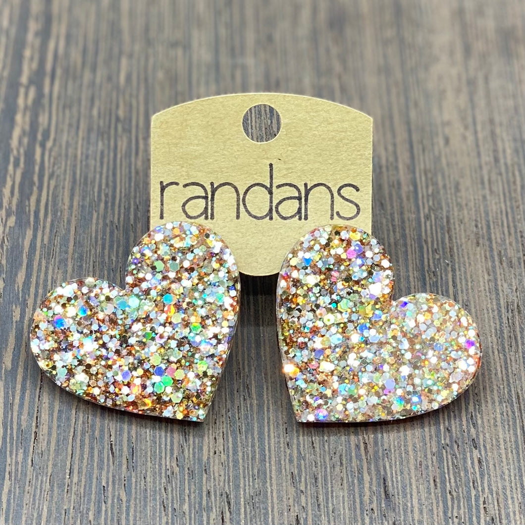 Randans Glitter Heart Post Earrings