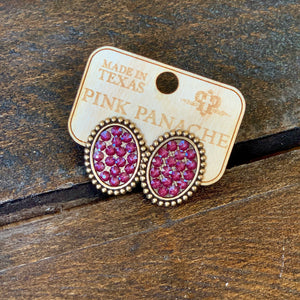Bronze Post Earrings with Dark Red Crystals