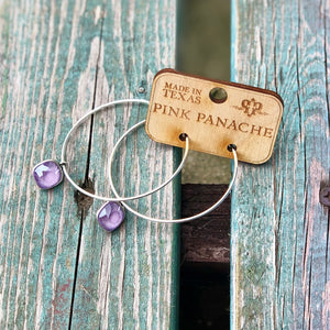 Silver Hoop with Purple Cushion Crystal Earrings