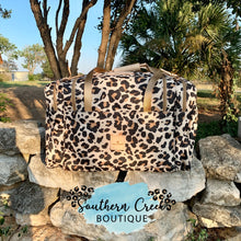 Load image into Gallery viewer, Jon Hart Leopard Medium Square Duffel