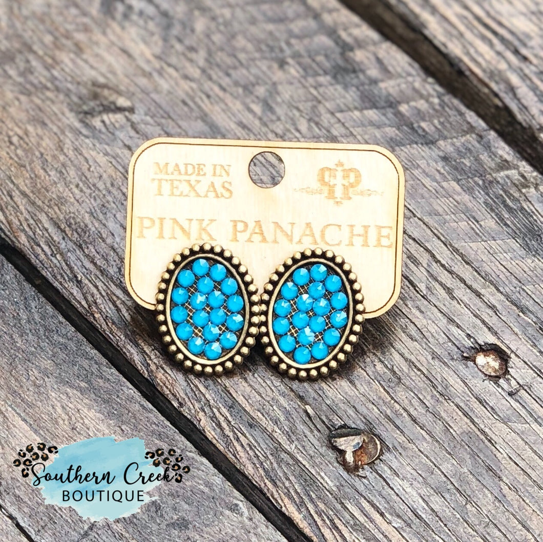 Bronze Post Earrings with Candy Blue Crystals