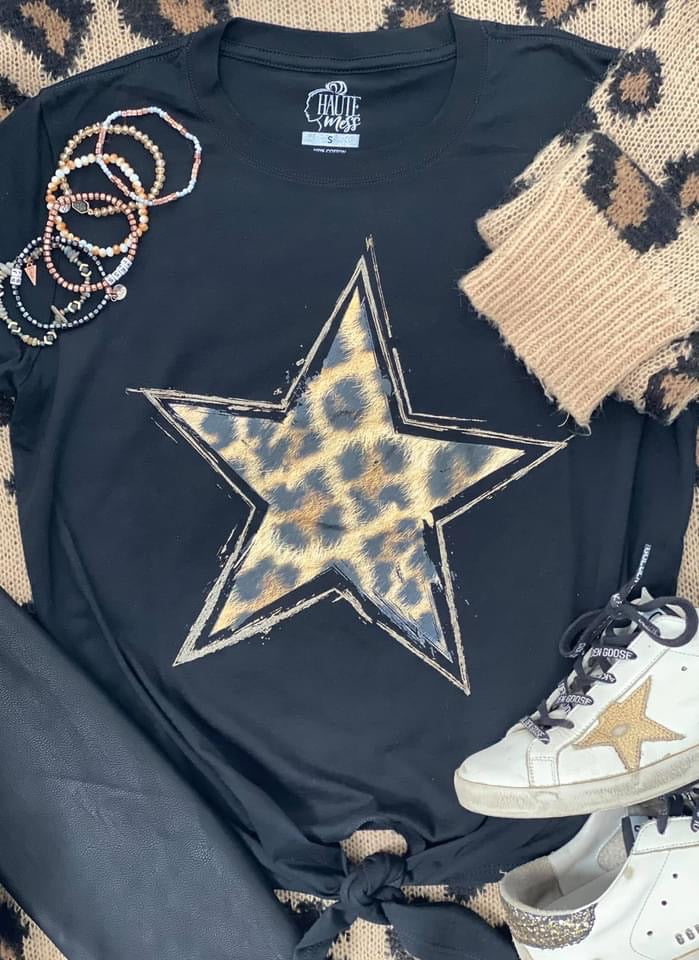 Distressed Leopard Star with Tie Front