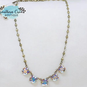 Cushion Cut AB 5 Stone Necklace