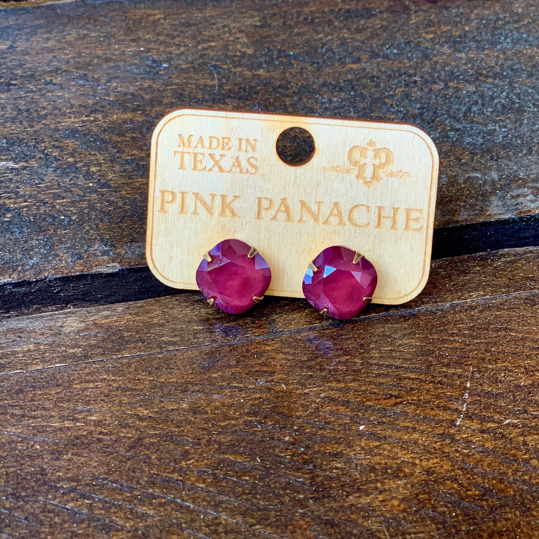 Cushion Cut Dark Red Post Earring