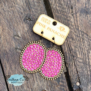 Bronze with Candy Pink Crystals Leverback Earrings