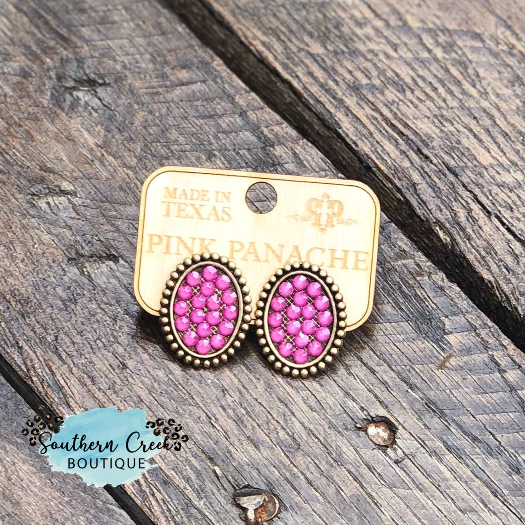 Bronze Post Earrings with Candy Pink Crystals