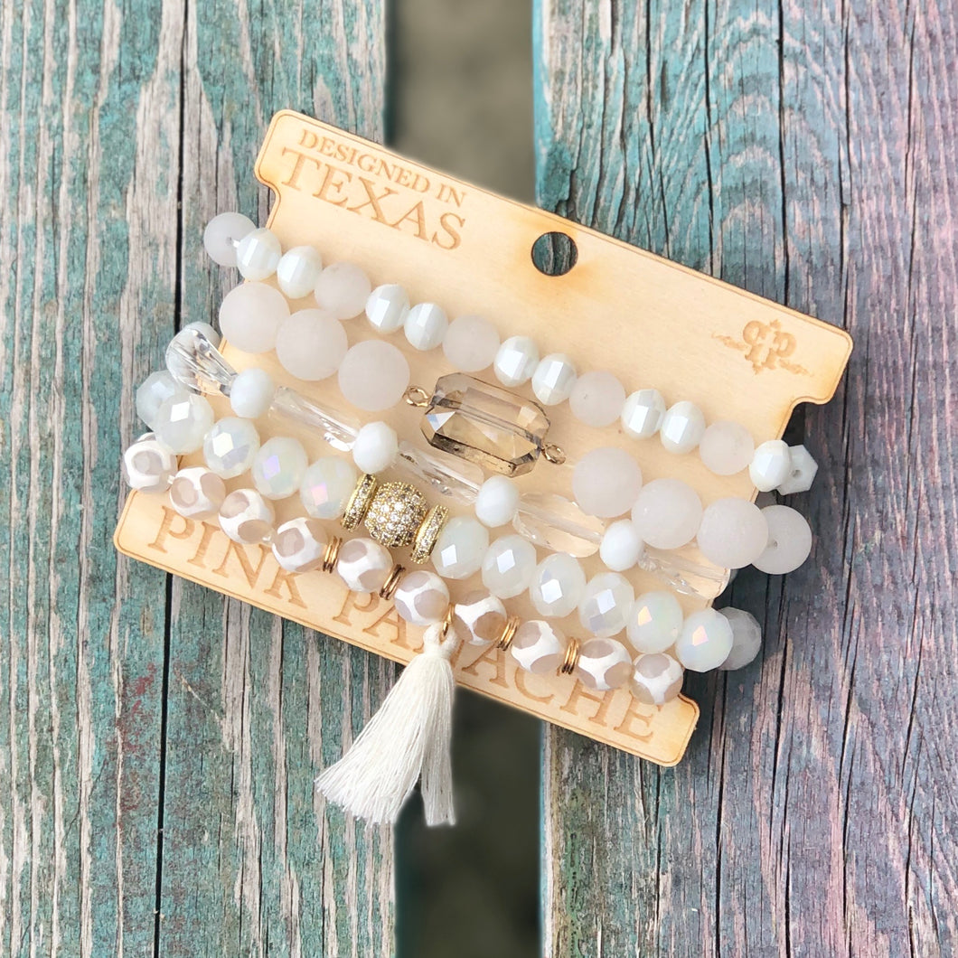White Bracelet Set with Tassel