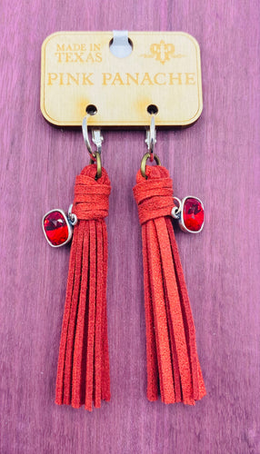 Red Leather Tassel Earring Set with Red AB Cushion