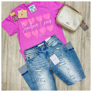 Southern Creek Pink Heart Graphic Tee