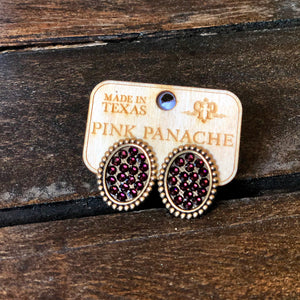 Bronze Post Earrings with Maroon Crystals