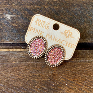 Bronze Post Earrings with Rose Gold Crystals