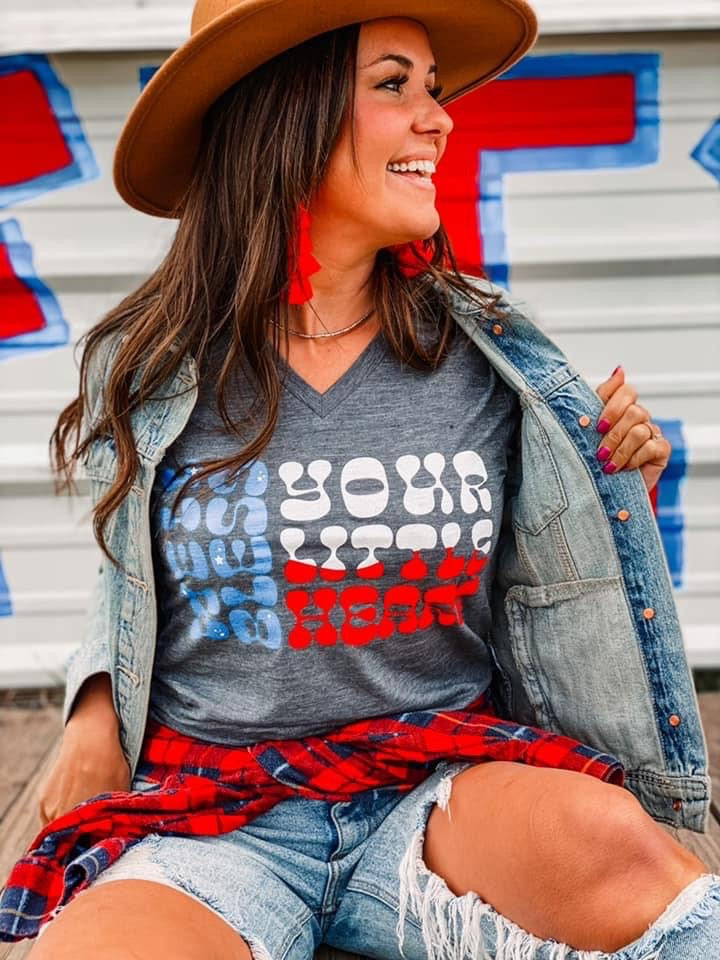 "Red, White, And Blue ""Bless Your Heart"" Graphic Tee"