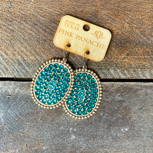 Bronze with Blue Zircon Crystals Leverback Earrings