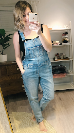 Denim overalls (maternity) - pale blue
