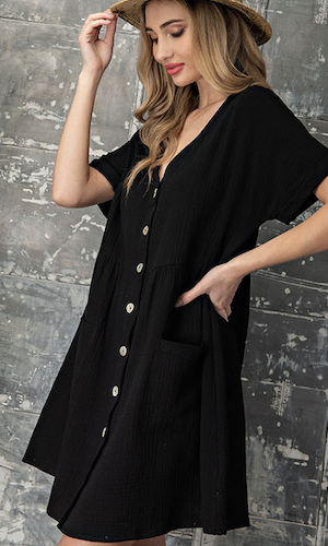 Button up babydoll dress