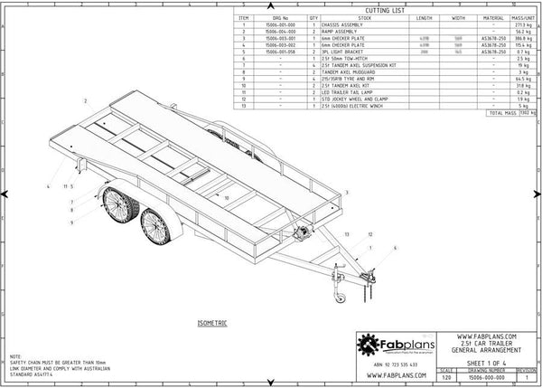 2500kg car trailer plans build your own car trailer fabplans car trailer blueprints fabplans trailer plans isometric view malvernweather Gallery