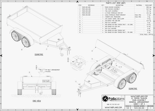 8x5 Hydraulic Tipping Trailer Plans | Dump Trailer