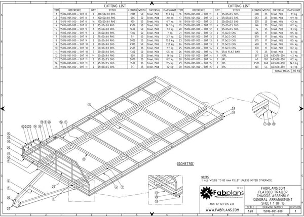 3500kg flatbed trailer plans build your own trailer fabplans 3500kg flatbed trailer plans general blueprints malvernweather Gallery