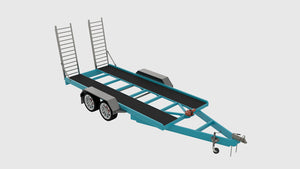 fabplans car trailer front iso view cad render blueprints