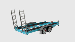 fabplans car trailer heavy duty plans rear view cad render