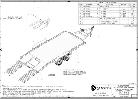 Beavertail Car Trailer Plans
