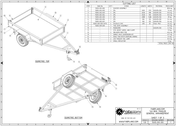 7x5 box trailer plans build your own box trailer fabplans for Rv blueprints