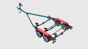 isometric view of boat trailer rear left view