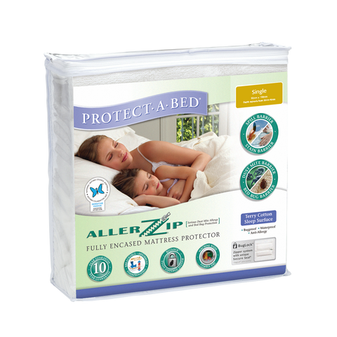 Allerzip Terry Fully Encased Mattress Protector - Single