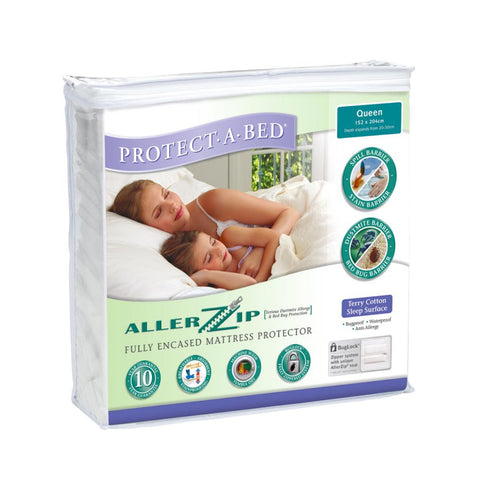 Allerzip Terry Fully Encased Mattress Protector - Queen