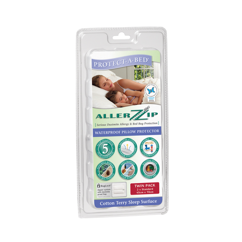 Allerzip Terry Pillow Protector - Standard - Twin Pack