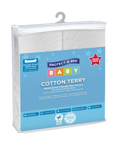 Terry Change Mat Cover - White Twin Pack (71cm x 48cm)