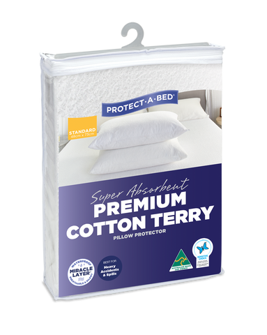 Super Absorbent Premium Cotton Terry Fitted Waterproof Pillow Protectors