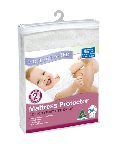 Universal Fitted Cot Protector - Terry (130cm x 76cm)