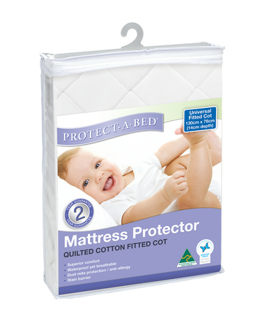 Universal Fitted Cot Protector - Quilted (130cm x 76cm)