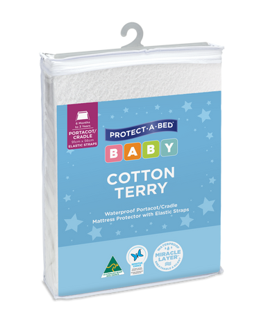 Cotton Terry Portacot / Cradle Protector with Elastic Straps