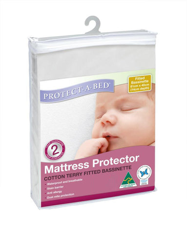 Fitted Bassinet Protector - Terry (81cm x 40cm + 14cm Depth)