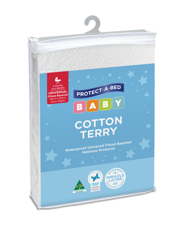 Cotton Terry Fitted Bassinet Mattress Protectors