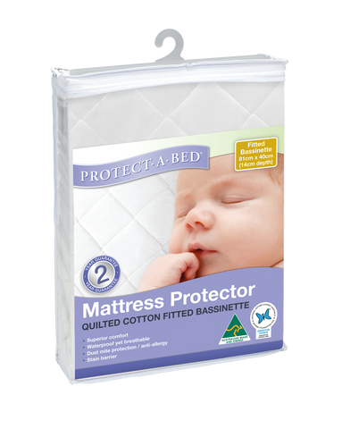 Fitted Bassinet Protector - Quilted (81cm x 40cm + 14cm Depth)